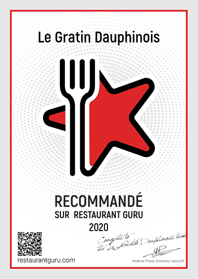 """Badge Recommandation"" par Restaurant Guru"